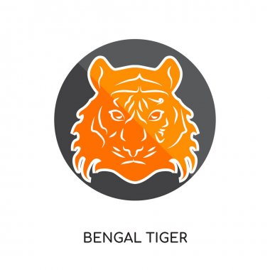 bengal tiger logo isolated on white background for your web, mob