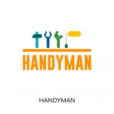 handyman logo image isolated on white background for your web, m