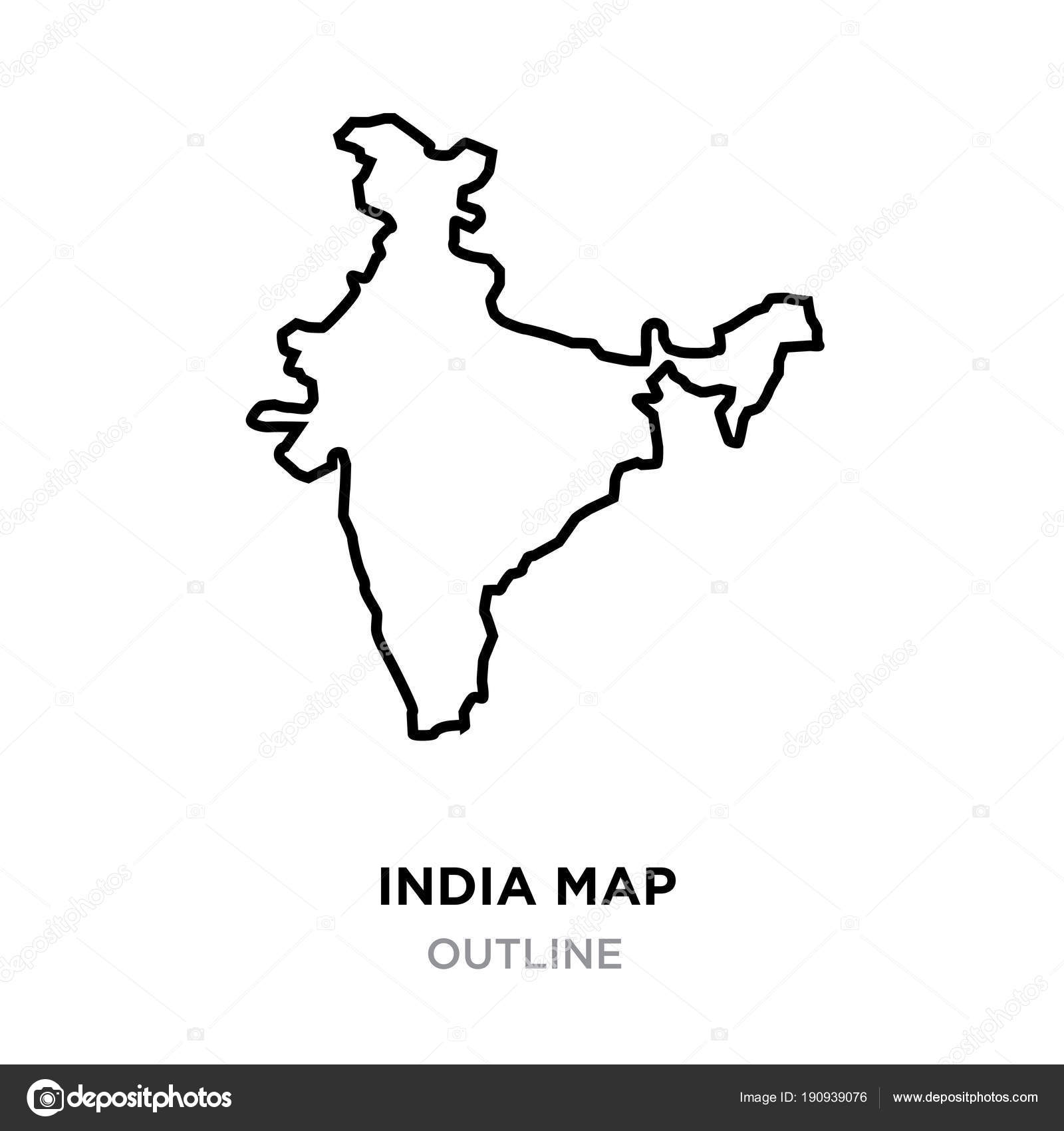 India Map Outline Png On White Background Vector Illustration