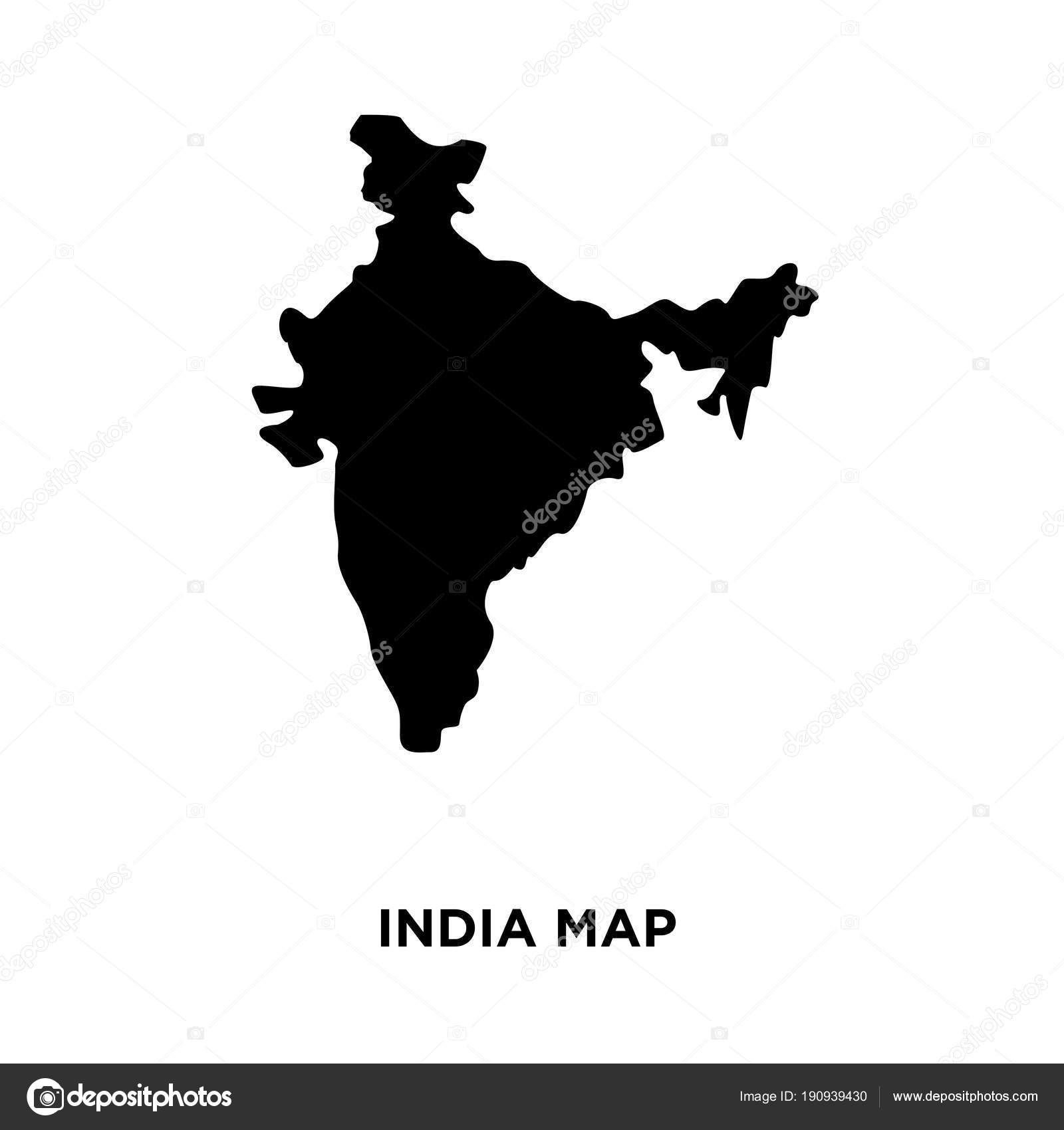 India Map Silhouette Png On White Background Vector Illustration
