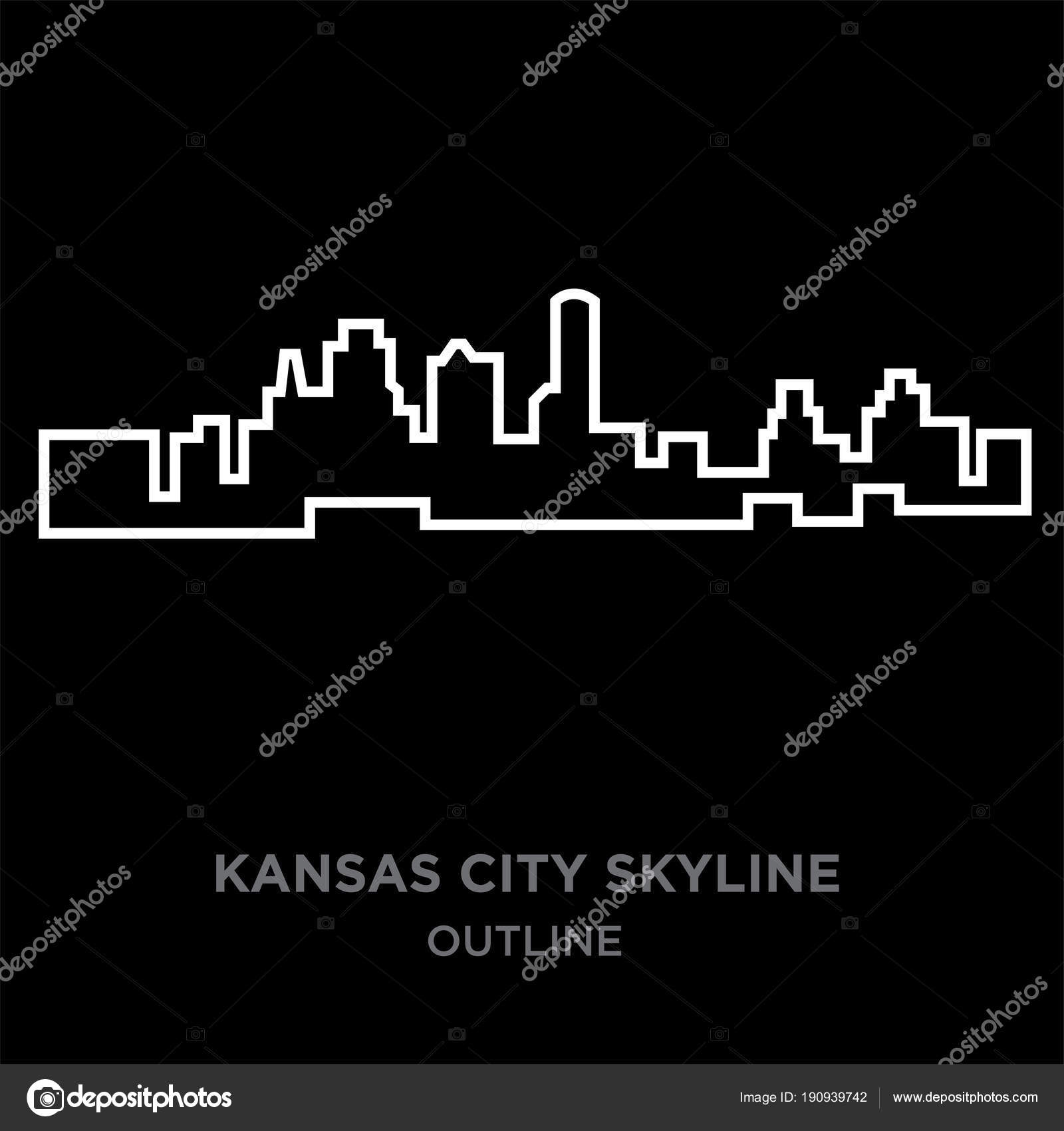 White border kansas city skyline outline on black background vector white border kansas city skyline outline on black background vector illustration stock vector altavistaventures Choice Image