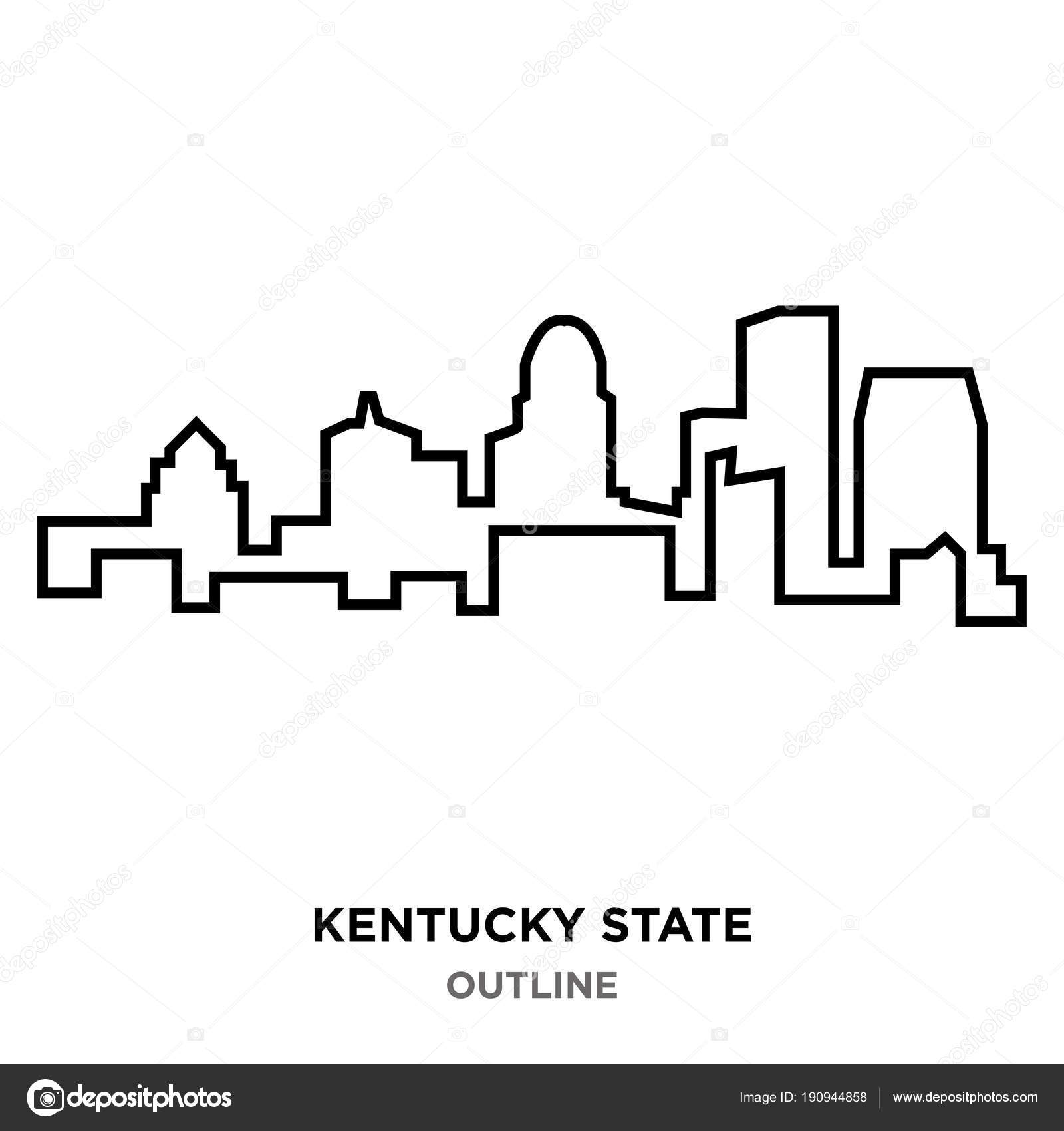 kentucky state outline on white background stock vector