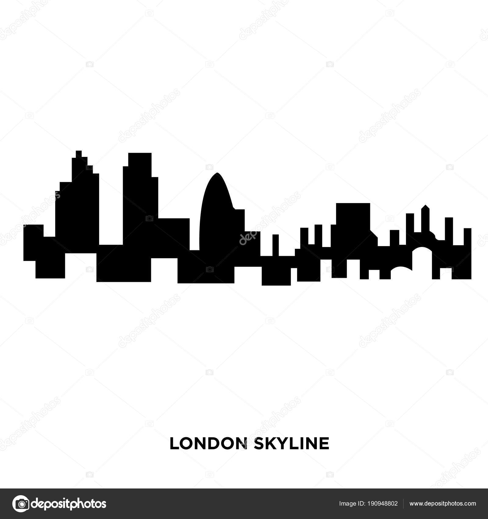 London Skyline Silhouette On White Background In Black Stock Vector
