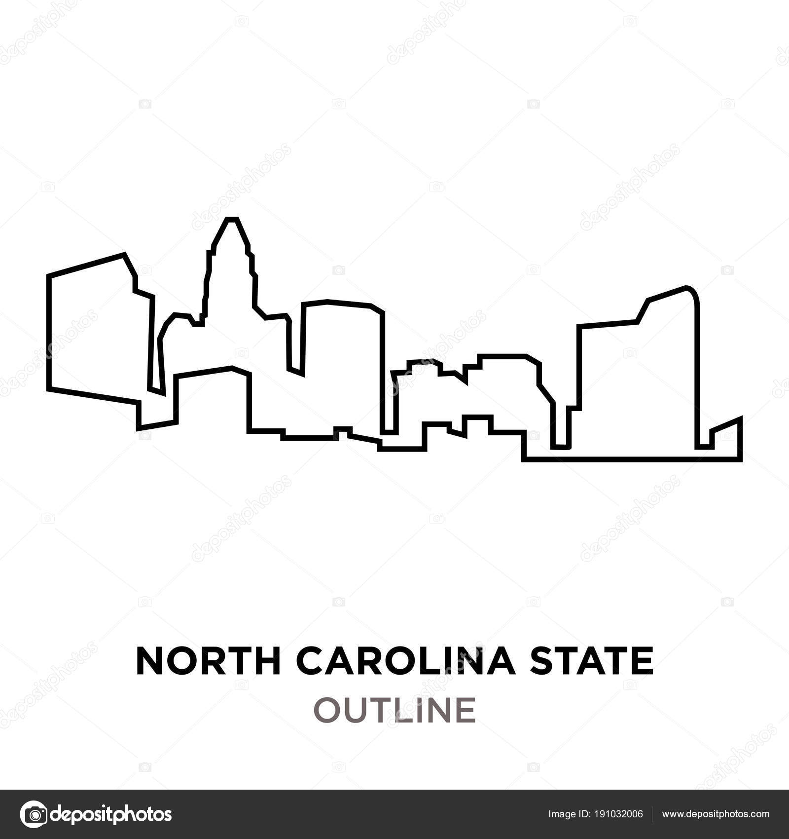 north carolina state outline on white background stock vector