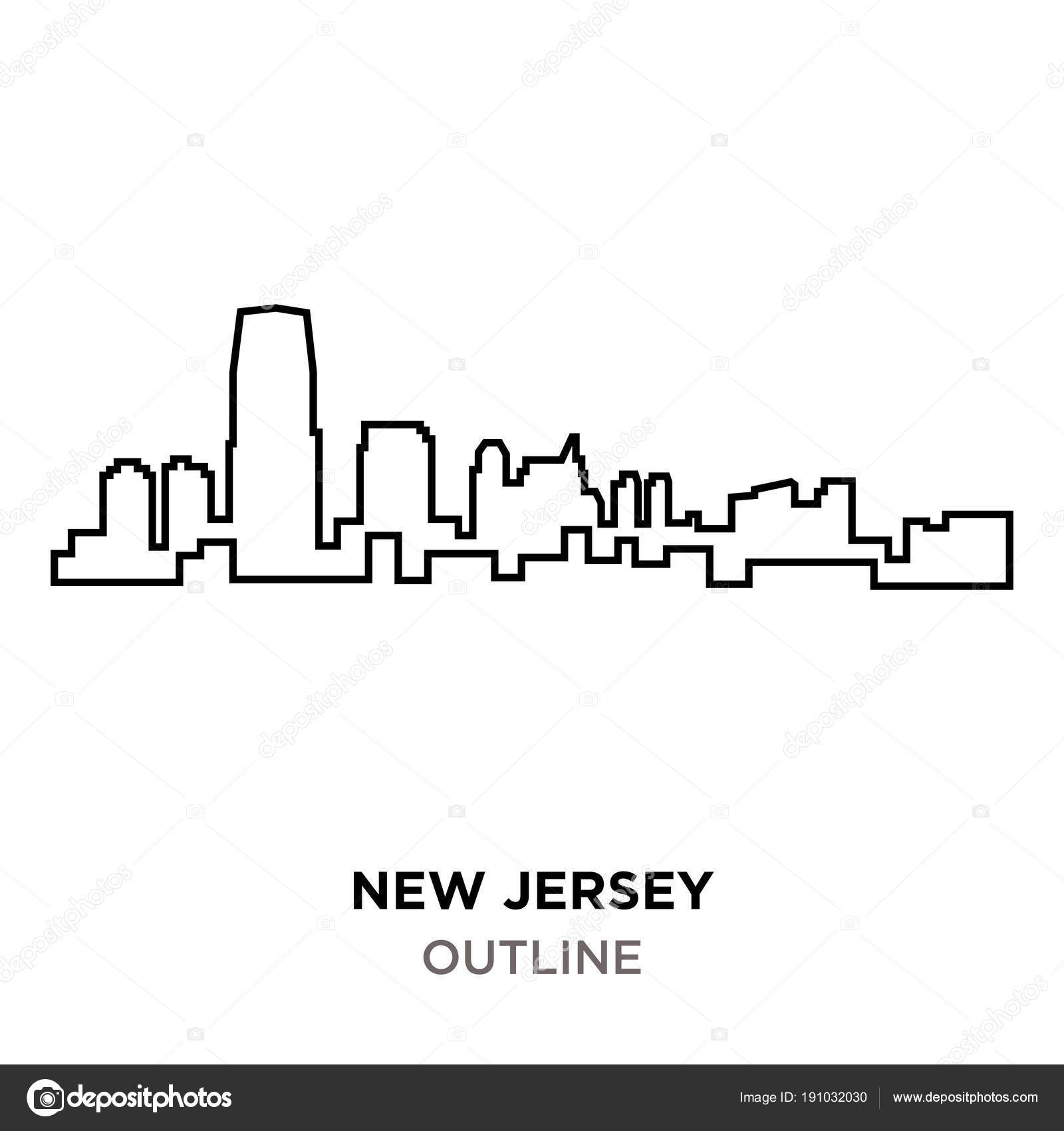 New jersey outline outline on white background — Stock