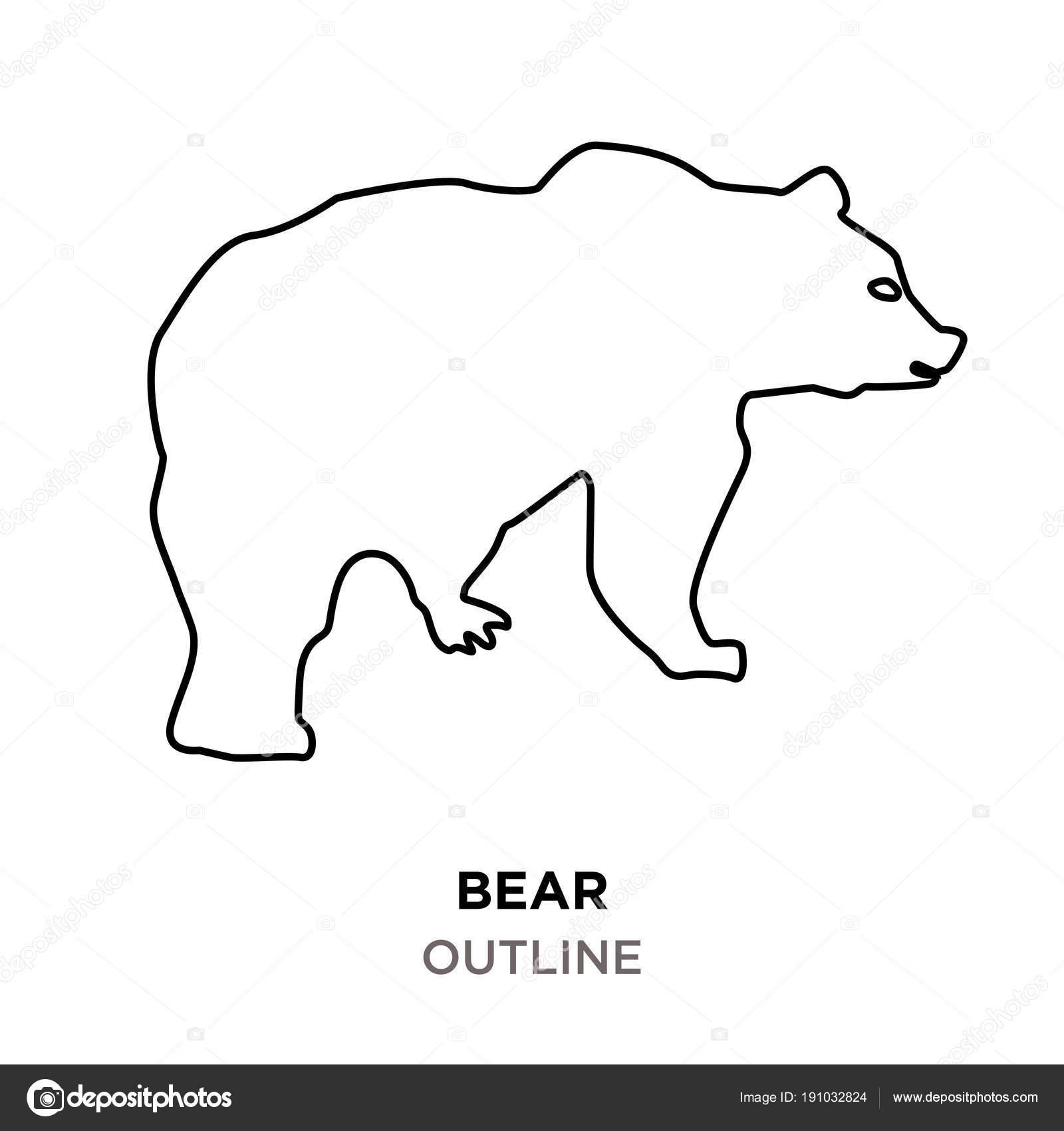 bear outline clipart on white background stock vector - Outline Of A Bear