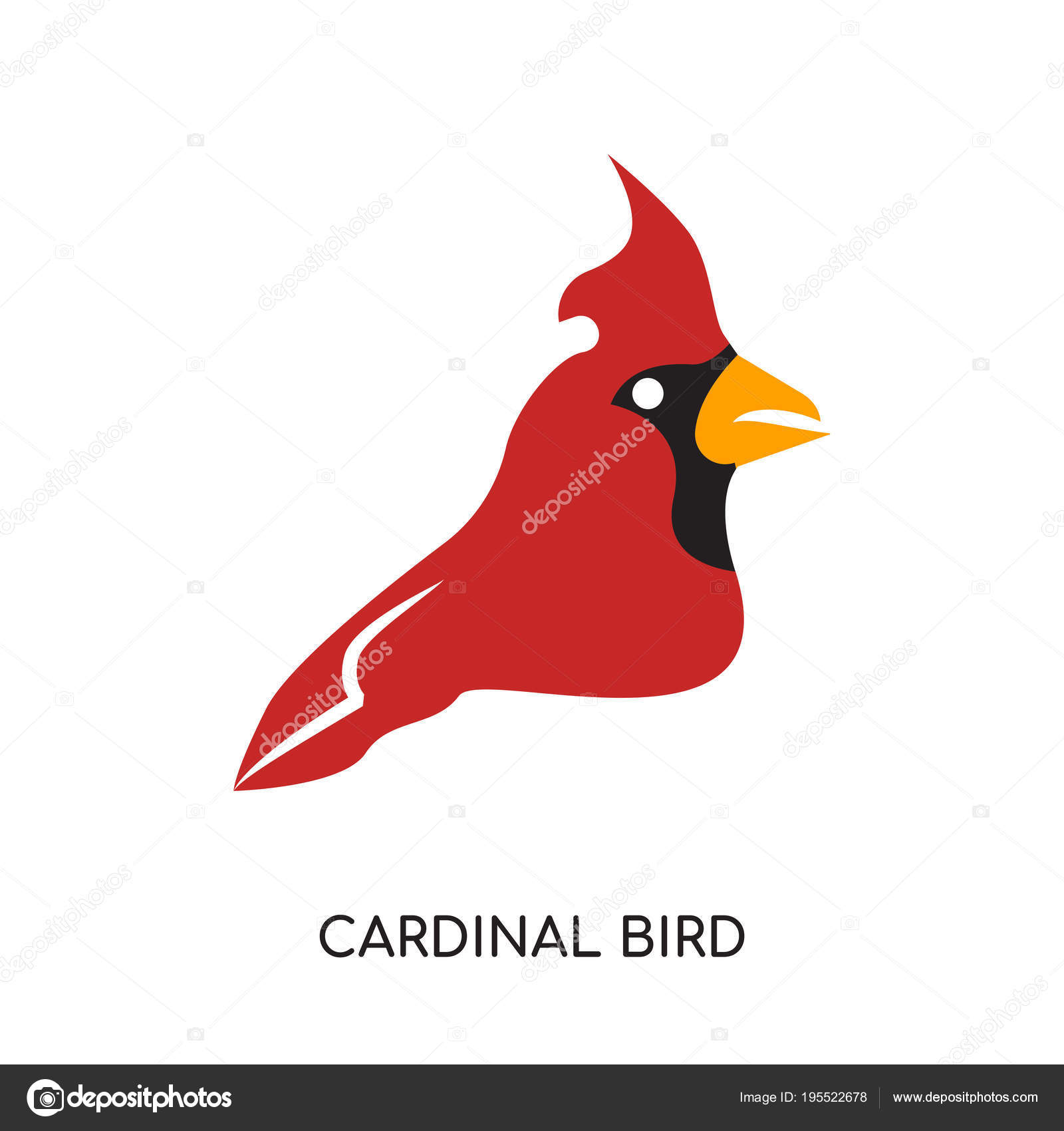 Cardinal Bird Logo Isolated On White Background Colorful Vecto