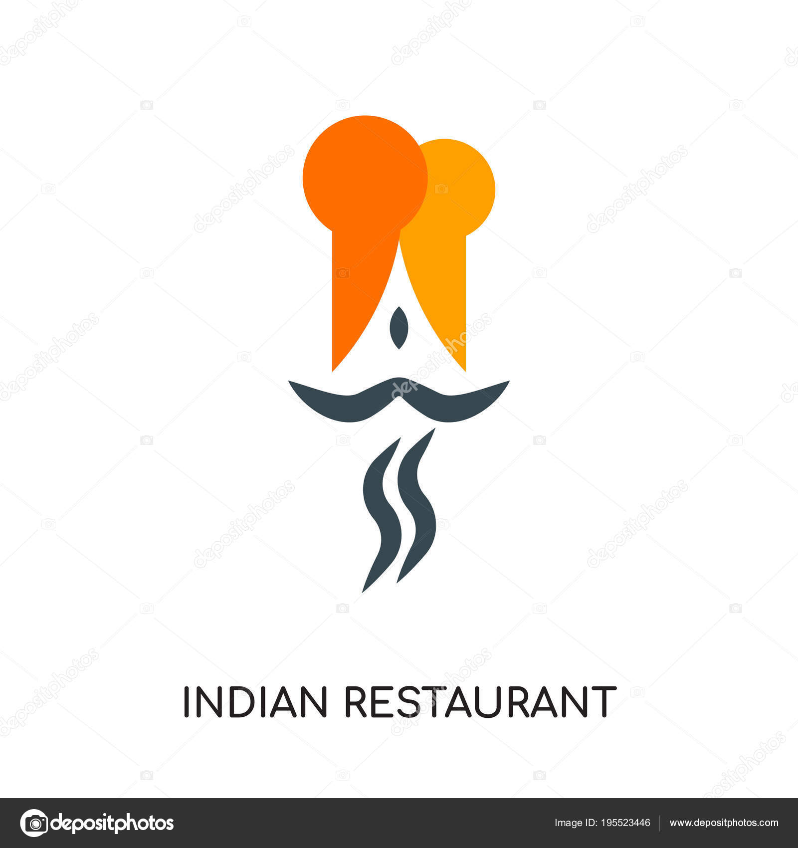 Indian Restaurant Logo Isolated On White Background Colorful V Stock Vector C Vectorgalaxy 195523446