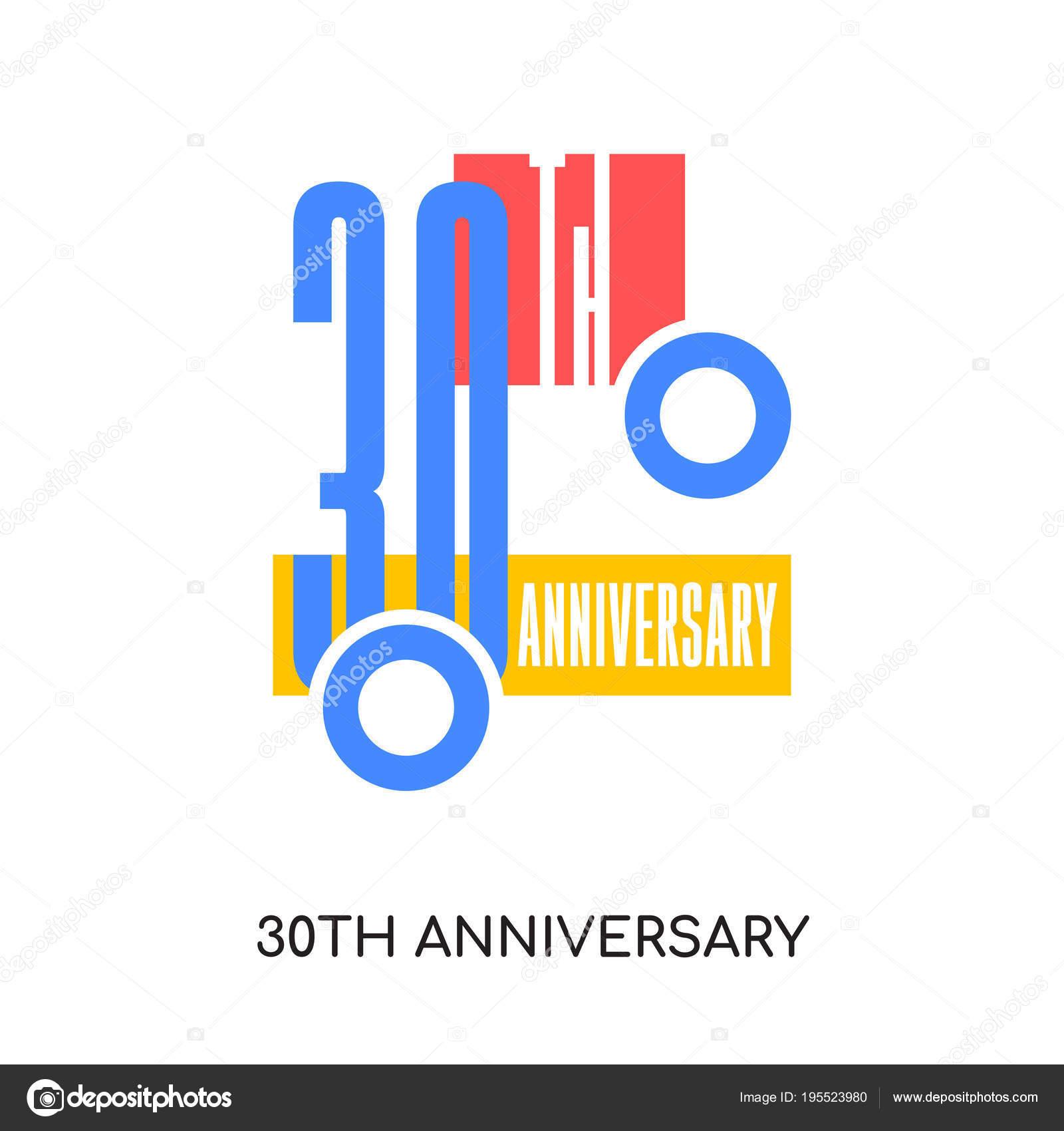 30e Verjaardag Logo Ideeen Geisoleerd Op Een Witte Achtergrond