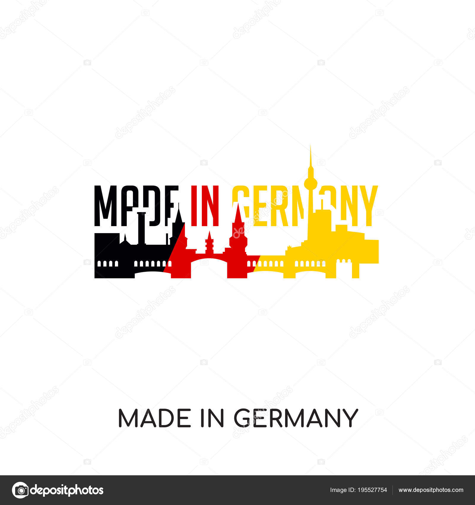 Made In Germany Logo Isolated On White Background Colorful Vec