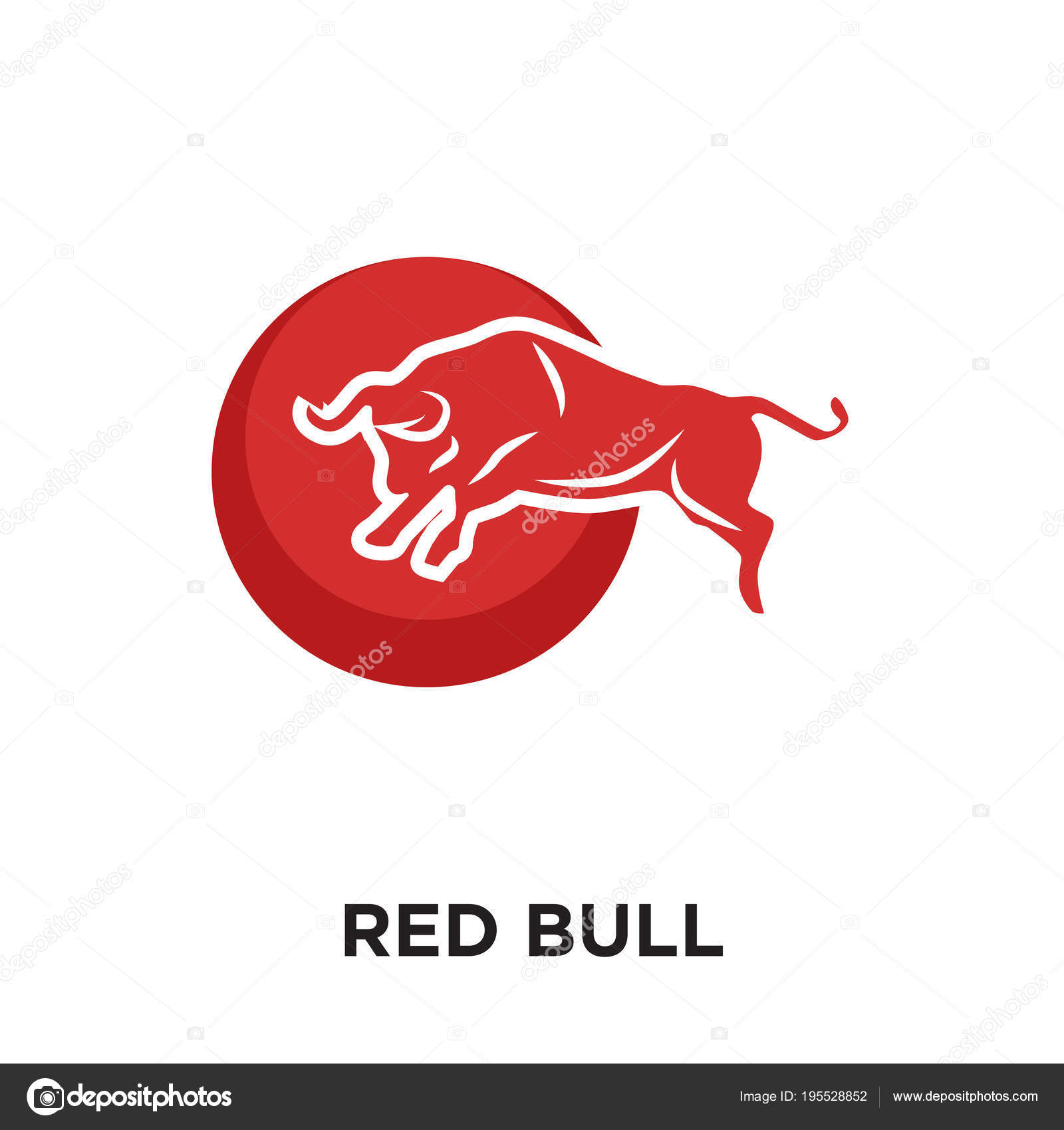 red bull logo white isolated on white background colorful vect