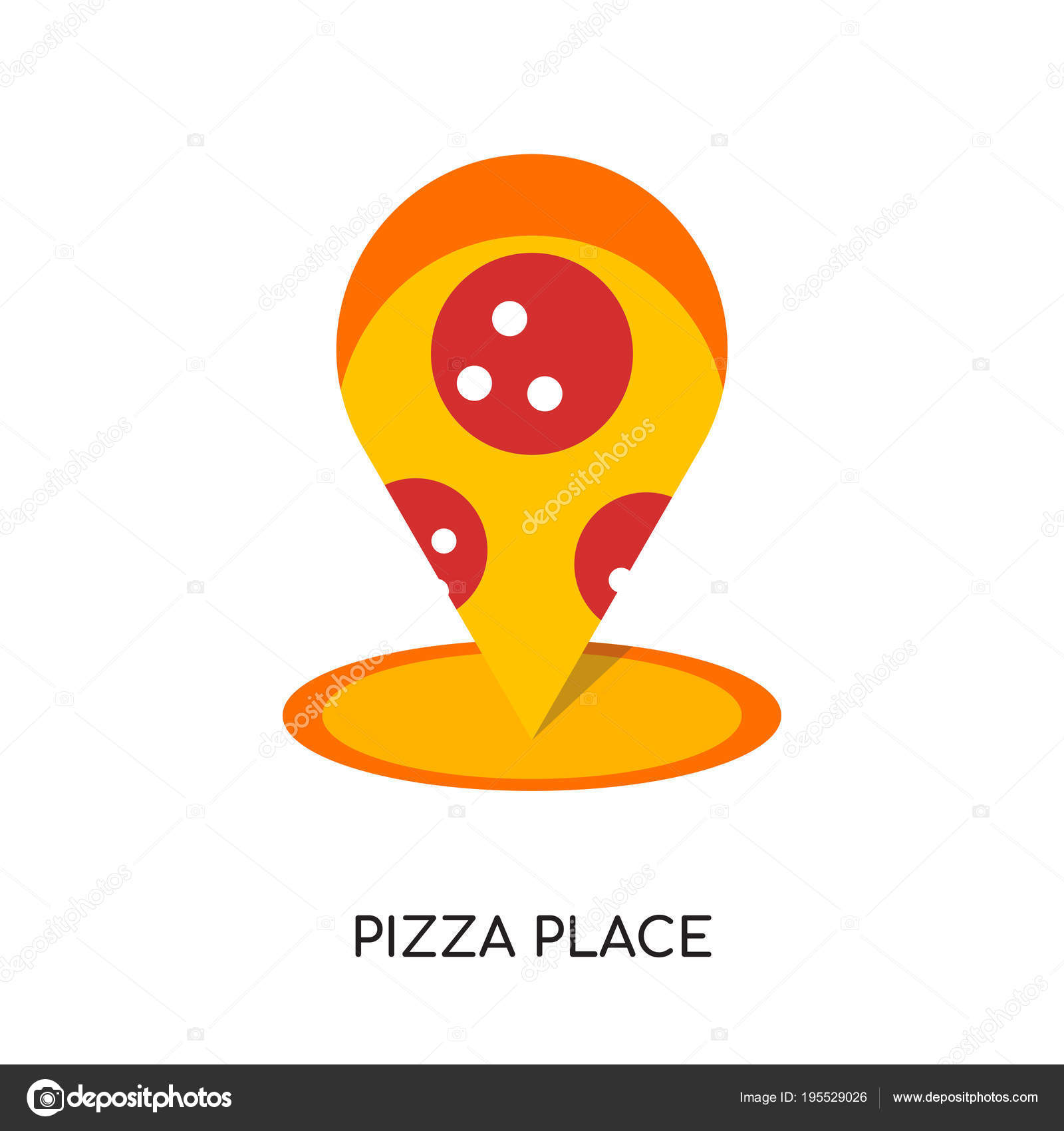 Pizza Yer Logosu Beyaz Arka Plan üzerinde Renkli Vektör Izole Stok