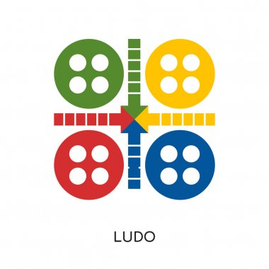 ludo logo isolated on white background , colorful vector icon, b