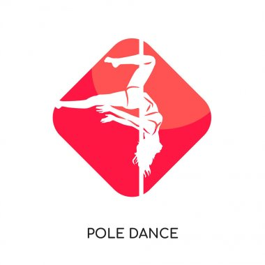 pole dance logo isolated on white background , colorful vector i