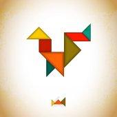 Tangram lidi, l vyrobené z tangram kusů, geometrické tvary. Tradiční čínský hlavolam tangram řešení kartu, výukové hry pro děti, děti. Abstraktní geometrické umění