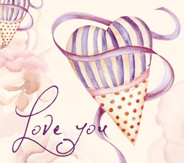 Painted postcard with heart and roses background.
