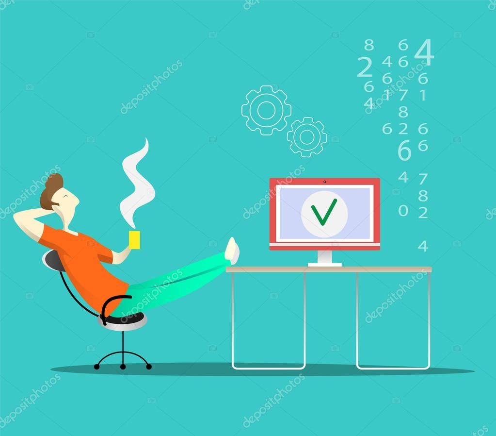 El programador se sienta y SIP gaviotas mientras se reinicia el ...