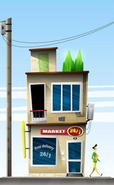 Cartoon 24-hour convenience store