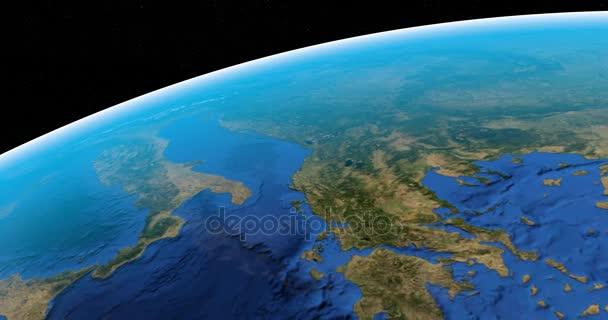 Italský poloostrov v pohledu ze satelitu v prostoru otáčení planety země
