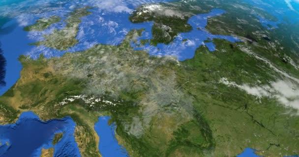 Kontinent Evropa v rotaci na planetě Zemi