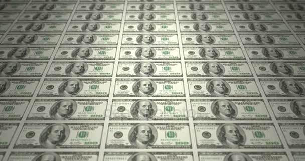 Serie of bills of american one hundred dollars on print, cash money