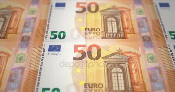 Banknotes fifty euros passing on screen