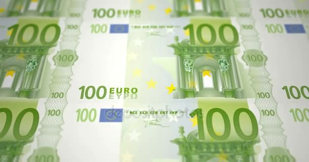 Banknotes of one hundred euros on print, loop