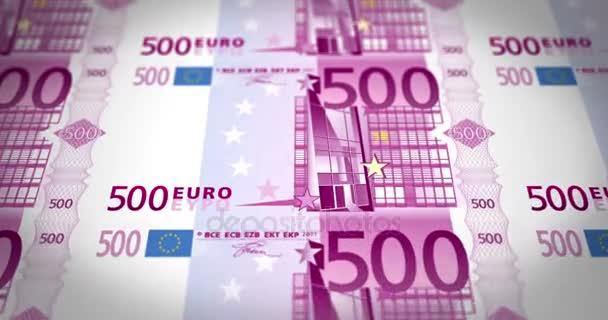 Bankovky z pěti set EUR na obrazovku, smyčka, hotovost