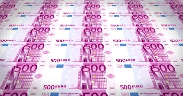 Sheet of five hundred euros banknotes passing on screen, loop