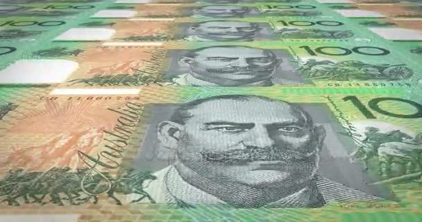 Ekranda Nakit Para Haddeleme 100 Avustralya Doları Banknot Döngü