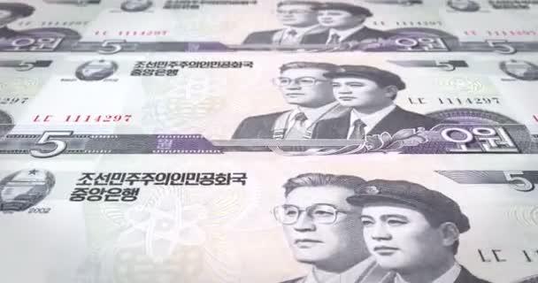 Banknoten der fünf Wons Nordkoreas Rollen, Bargeld, Schleife