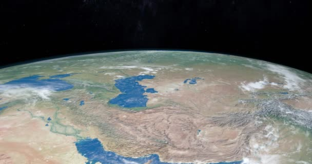 Caspian Sea in planet Earth, aerial view from outer space