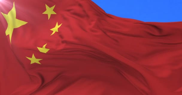 Chinese flag waving at wind with blue sky, loop