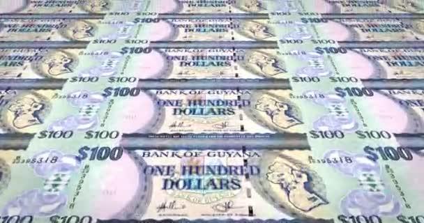 Banknoten von hundert Guyana Dollar von Guyana, Bargeld, Schleife