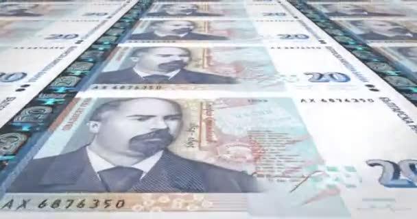 Banknoten von 20 Bulgarische Leva Bulgariens, Bargeld, Schleife