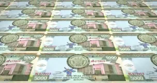 Banknoten der fünftausend burundischen Franken von Burundi, Bargeld, Schleife