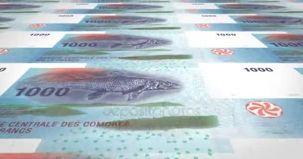 Banknotenserie von tausend komorischen Franken der Komoren, die Rollen auf dem Bildschirm, Münzen der Welt, Bargeld, Bank-Schleife