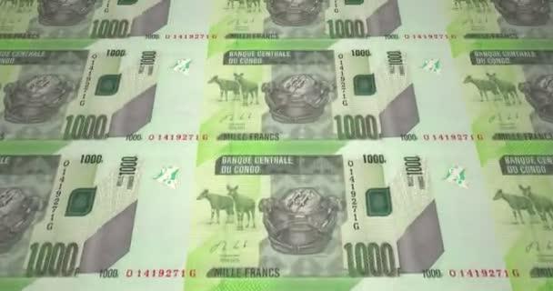 Banknoten von tausend kongolesische Francs Kongo, bares Geld, Schleife