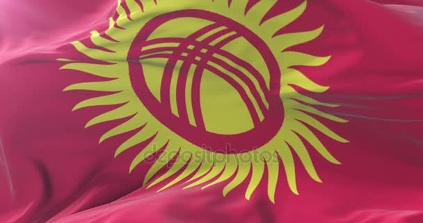 Flag of Kyrgyzstan waving at wind in slow, loop