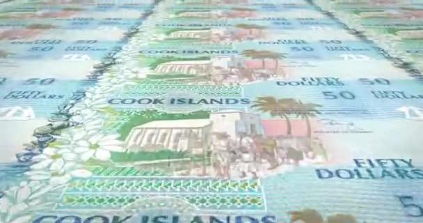 Banknoten von fünfzig Dollar Cookinseln Rollen, Bargeld, Schleife