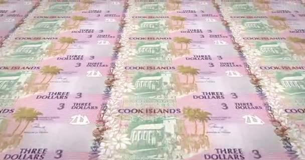 Le banconote di dollari in tre isole Cook rotolamento, denaro contante, ciclo