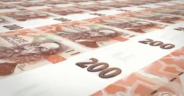 Bankovky z dvě stě přeplatek z České republiky, hotovost, smyčka