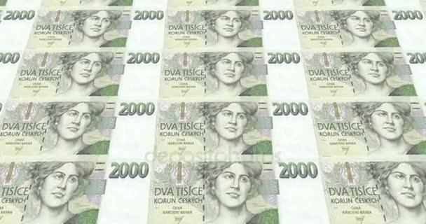 Bankovky z dvou tisíc korun z České republiky, hotovost, smyčka