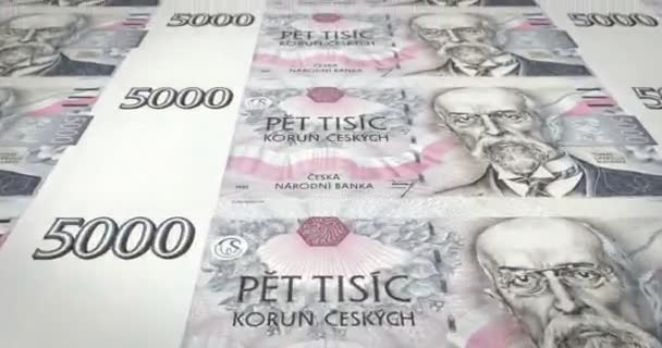 Banknoten von 5 000 tschechische Kronen der Tschechischen Republik, Bargeld, Schleife
