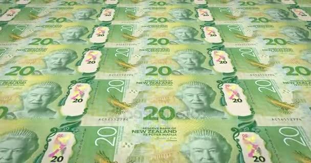 Le banconote da venti dollari della Nuova Zelanda di rotolamento, denaro contante, ciclo