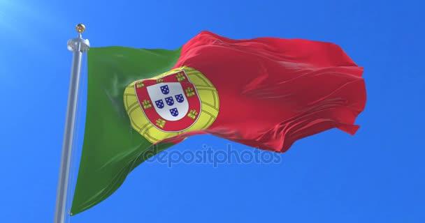 Integetett a szél, a lassú, kék sky portugál zászló, hurok