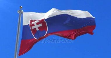 Flag of Slovakia waving at wind in slow in blue sky, loop