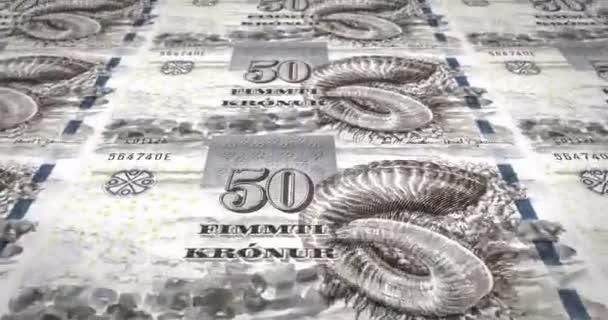 Bankovky z padesáti riál Faerských ostrovů Faerských ostrovů válcování, hotovost, smyčka
