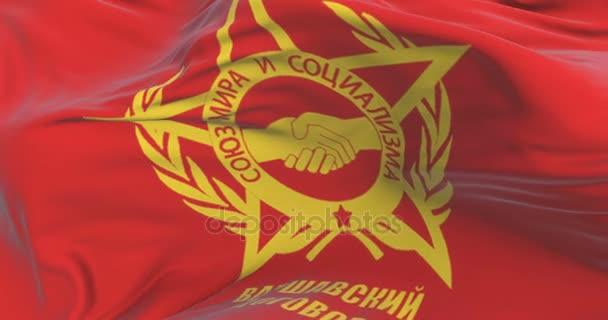 Bandera Del Pacto De Varsovia Ondeando En El Viento Con Cielo Azul Lazo