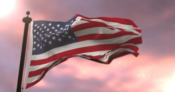 United States of America flag waving at sunset, loop